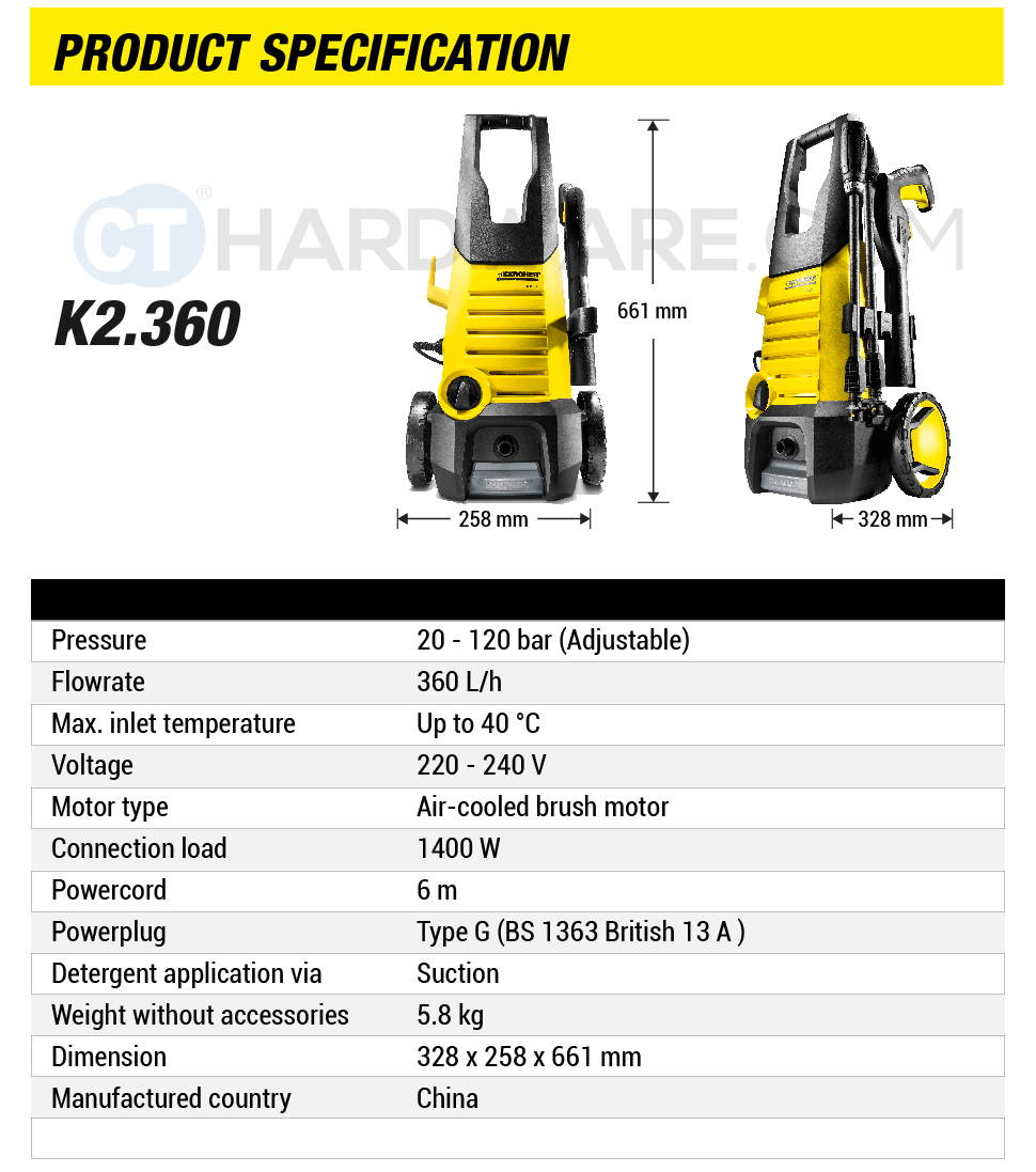 Karcher K2 360 High Pressure Washer 120 Bar 1 601 686 0